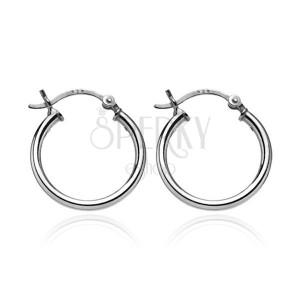 Stříbrné náušnice 925 - kruhy s jednoduchým designem, 16 mm
