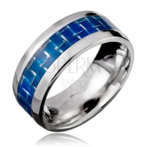 Prsten z oceli - modrý pás, efekt karbonového vlákna