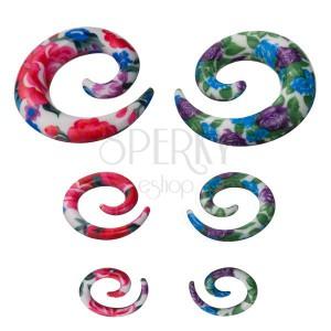 Spirála do ucha - barevný květovaný vzor