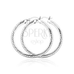 Kruhy ze stříbra 925 - gravírované dvojlístečky, 40 mm