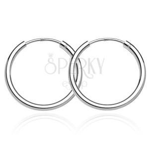 Stříbrné náušničky 925 - hladké lesklé kruhy, 22 mm