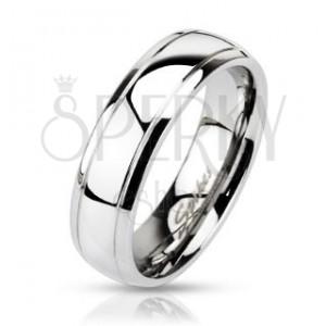 Ocelový prsten - obruč se dvěma vygravírovanými pásy