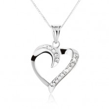 Náhrdelník ze stříbra 925 - zatočená silueta srdce se zirkony