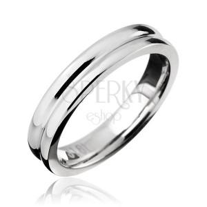 Prsten z oceli - obroučka se zářezem ve středu