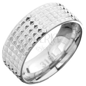 Ocelový prsten - obroučka s kosočtvercovými zářezy