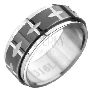 Ocelový prsten - černo-stříbrný, pohyblivý pás se vzorem kříže