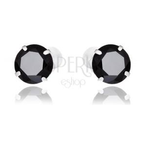 Náušnice ze stříbra 925 - okrouhlé černé zirkony, 7 mm