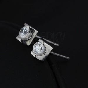 Stříbrné puzety 925 - čirý zirkon v lesklé cihličce