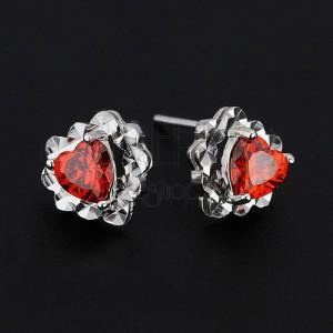 Náušnice ze stříbra 925 - červené zirkonové srdce, srdcový podklad