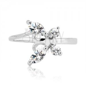 Prsten ze stříbra 925 - zirkonový motýl s tykadly