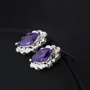 Stříbrné náušnice 925 - fialová slza, oválný třpytivý podklad