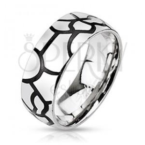 Ocelový prsten - imitace černých prasklin