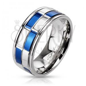 Prsten z oceli - obroučka, modro-stříbrné obdélníky