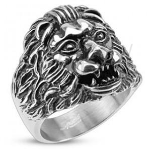 Mohutný ocelový prsten - lví hlava