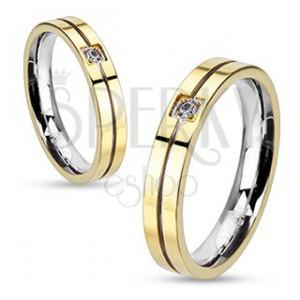 Prsten z oceli - zlato-stříbrná kombinace se zirkonem