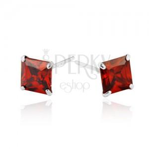Náušnice ze stříbra 925 - červené zirkonové čtverce, 6 mm