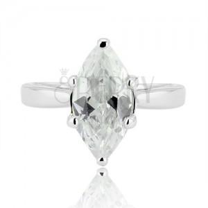 Stříbrný prsten 925 - velký broušený zirkon ve tvaru zrnka