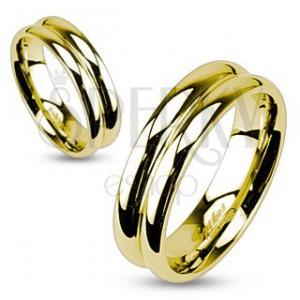 Ocelový prsten ve zlaté barvě se zářezem uprostřed