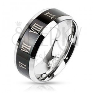 Prsten z oceli - stříbrný s černým pruhem a římskými číslicemi