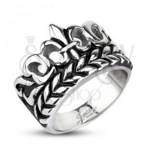 Mohutnější prsten z oceli - Fleur de Lis s listy, patinovaný