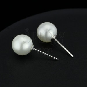 Stříbrné náušničky 925 - bílá perlová kulička, 8 mm