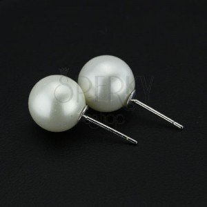 Náušnice ze stříbra 925 - velké bílé perly, 10 mm
