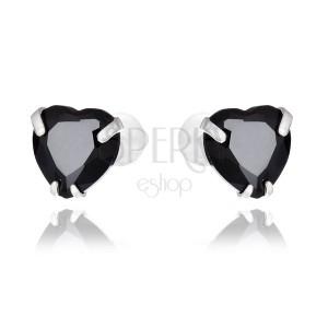 Náušnice ze stříbra 925 - černé zirkonové srdce, 7 mm