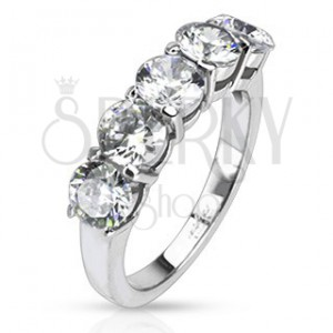 Ocelový prsten - pět okrouhlých čirých zirkonů v dvojité objímce