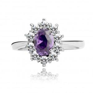 Prsten ze stříbra 925 - fialový zirkon lemovaný čirými zirkonky