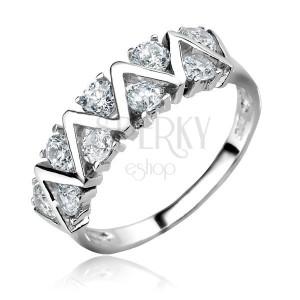 Stříbrný prsten 925 - CIKCAK linie s čirými zirkony