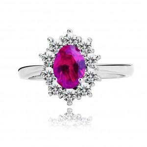 Prsten ze stříbra 925 - tmavě růžový oválný zirkon a čiré zirkonky