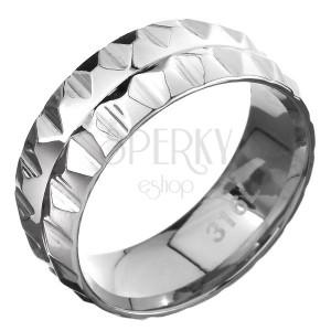 Ocelový prsten 316L - dvě řady pyramidek