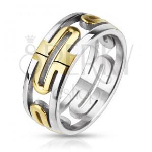Ocelový prsten - vyřezávaný, zlaté ovály, stříbrný okraj