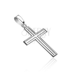 Křížek ze stříbra 925 - dvojité rovnoběžné pásy