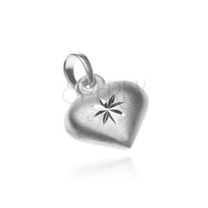 Stříbrný přívěsek 925 - matné srdce s lesklou hvězdou