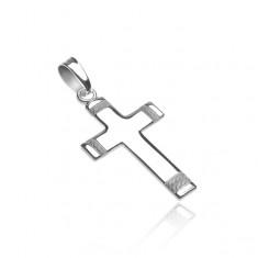 Přívěsek ze stříbra 925 - kříž s gravírovaným matným lankem na koncích X35.2