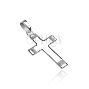 Přívěsek ze stříbra 925 - kříž s gravírovaným matným lankem na koncích