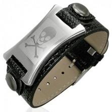 Náramek z imitace kůže známka z oceli uprostřed s lebkou