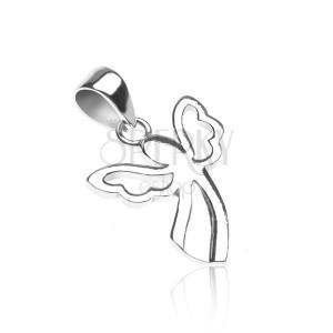 Přívěsek ze stříbra 925 - andílek s vykrojenými křídly