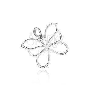 Stříbrný přívěsek 925 - motýl, lesklá obrysová křídla, lehce zahnutá