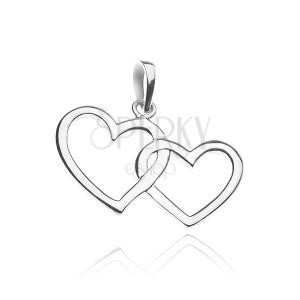 Stříbrný přívěsek 925 - silueta dvou propletených srdcí