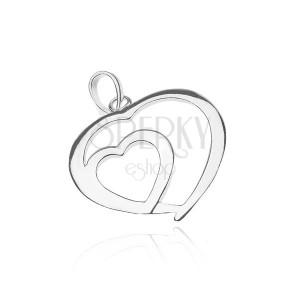 Stříbrný přívěsek 925 - lesklé srdce v srdci