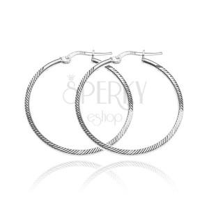 Náušnice ze stříbra 925 - kruhy s hranatou linií, šikmé zářezy, 35 mm