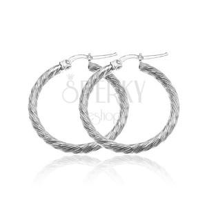 Stříbrné kruhy 925 - třpytivá hrubší linie, tenké krátké zářezy, 30 mm