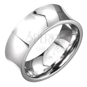 Ocelový prsten - zrcadlově lesklý s prohlubní, stříbrný