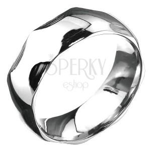 Ocelový prsten - zaoblená obroučka a půlkruhové prohlubně, stříbrný