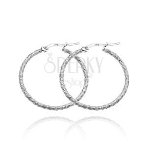 Stříbrné kruhy 925 - třpytivá linie, tenké šikmé vroubky, 25 mm