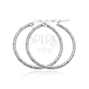 Náušnice ze stříbra 925 - kruhy s krátkými hustými zářezy, 40 mm