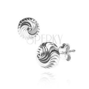 Stříbrné náušnice 925 - překroucená hustá spirála