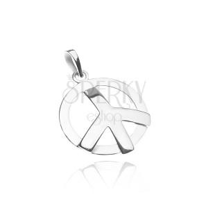 Přívěsek ze stříbra 925 - lesklý vypouklý symbol míru